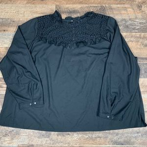 Tops - Eloqui Black Lace Peasant Blouse Size 28